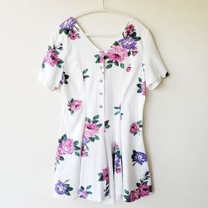 Vintage 80's Floral Button Up Coulot Romper